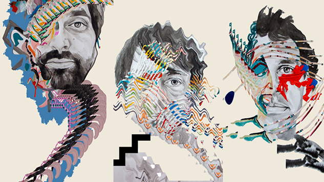 The three covers created for Painting With, depicting, from left, Geologist, Panda Bear and Avey Tare